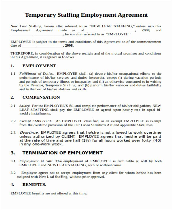 Temporary Employment Contract Template Lovely 42 Agreement Templates In Word