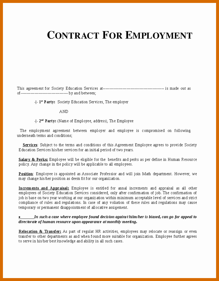 Temporary Employment Contract Template Luxury 10 11 Sample Of Employment Contract