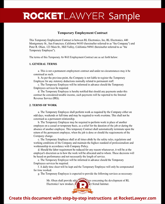 Temporary Employment Contract Template Luxury Temporary Employment Contract Agreement Template with