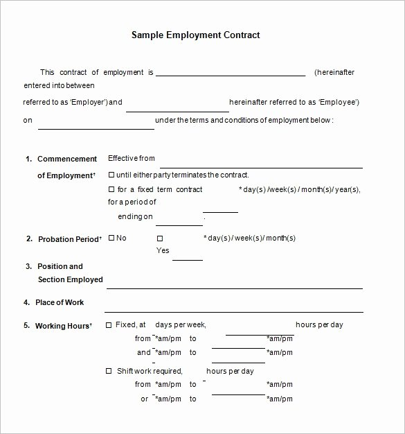 Temporary Employment Contract Template New 18 Job Contract Templates Word Pages Docs