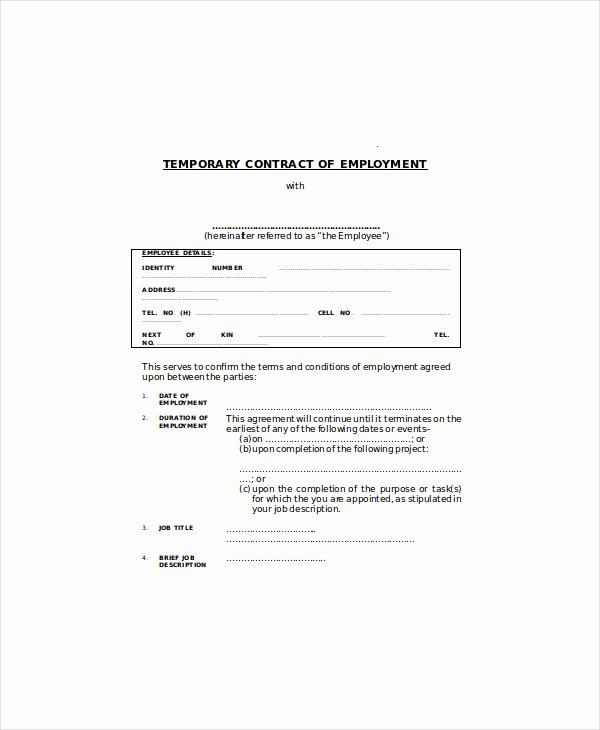Temporary Employment Contract Template New 5 Temporary Employment Agreement Templates Pdf Doc