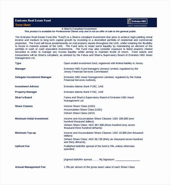 Term Sheet Template Word Best Of Business Term Sheet Example 14 Term Sheet Template Free