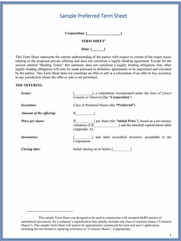 Term Sheet Template Word Inspirational Choose From 9 Term Sheet Templates