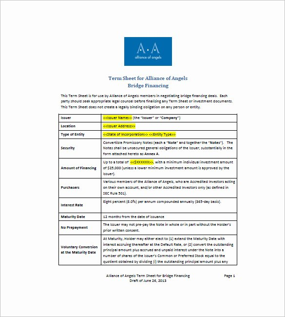 Term Sheet Template Word Lovely 8 Convertible Promissory Note – Free Sample Example