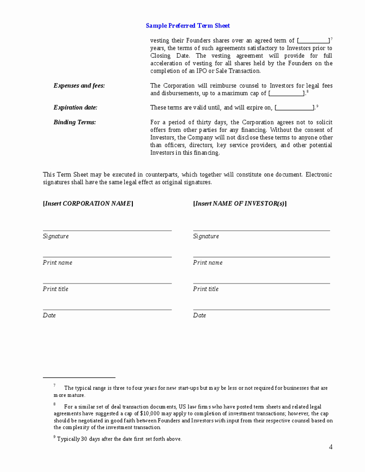 Term Sheet Template Word Luxury 11 Venture Capital Investment Agreement Examples Pdf Word