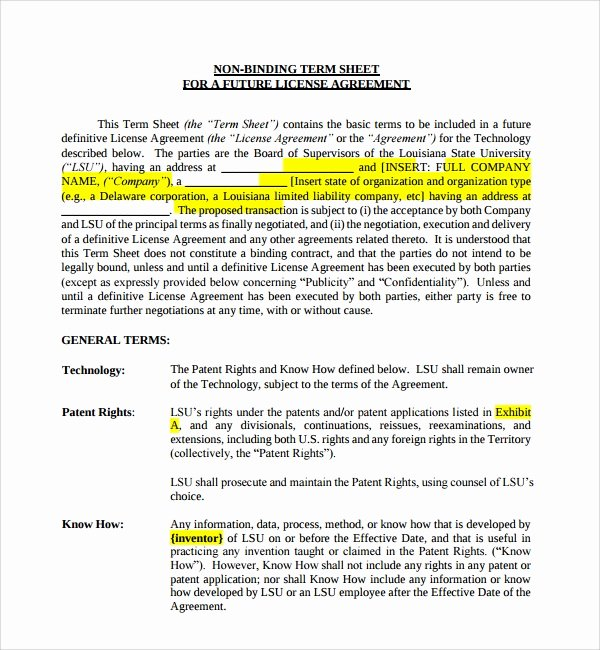 Term Sheet Template Word Luxury 14 Sample Term Sheet Templates to Download