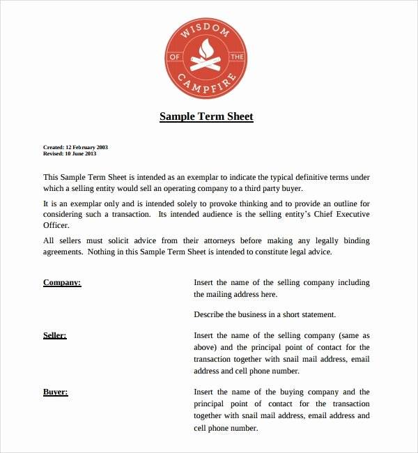 Term Sheet Template Word Unique Term Sheet Template 9 Download Free Documents In Pdf Word