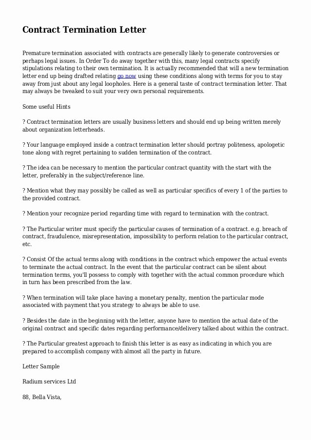 Termination Of Contract Template Beautiful Contract Termination Letter