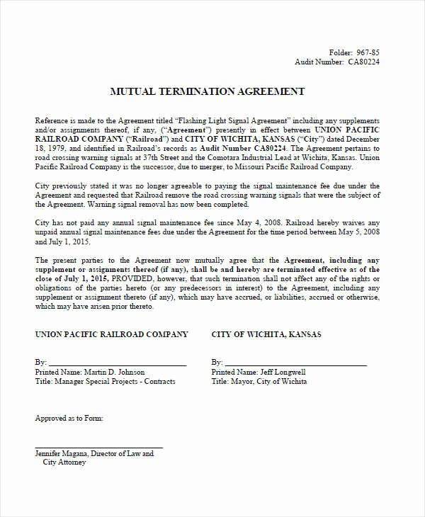 Termination Of Contract Template Best Of 8 Termination Contract Template – Examples In Word Pdf