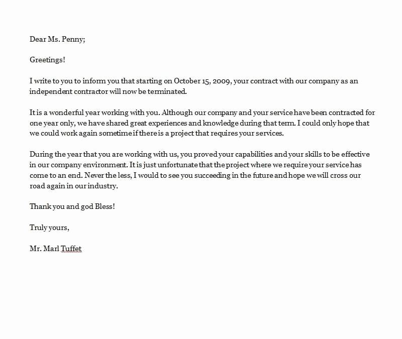 Termination Of Contract Template Inspirational Contract Termination Letter