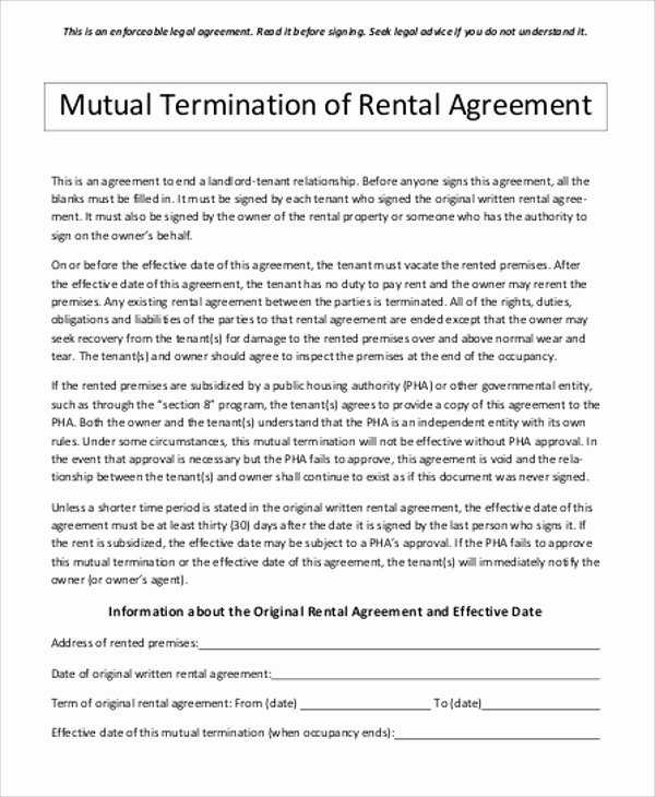 Termination Of Contract Template Inspirational Sample Contract Termination Agreement 11 Examples In