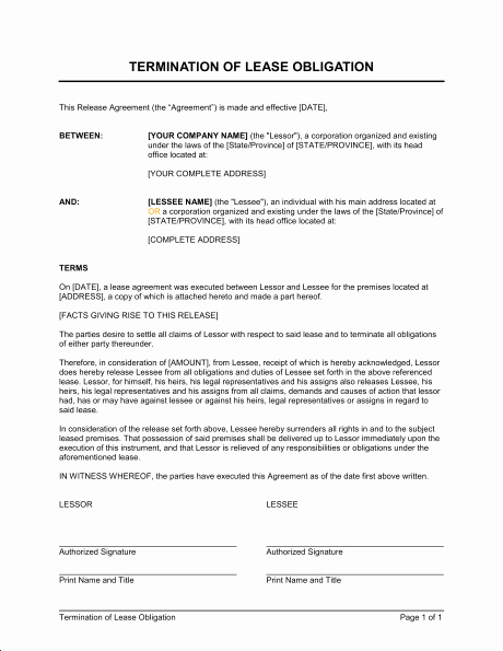 Termination Of Contract Template Luxury Termination Of Lease Obligation Template & Sample form