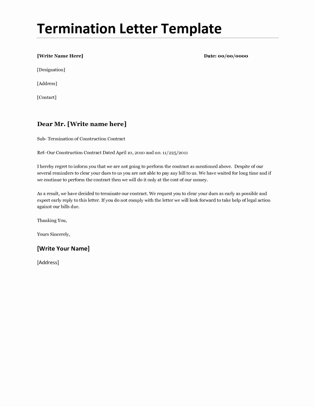 Termination Of Contract Template Unique Business Contract Termination Letter for Non Renewal