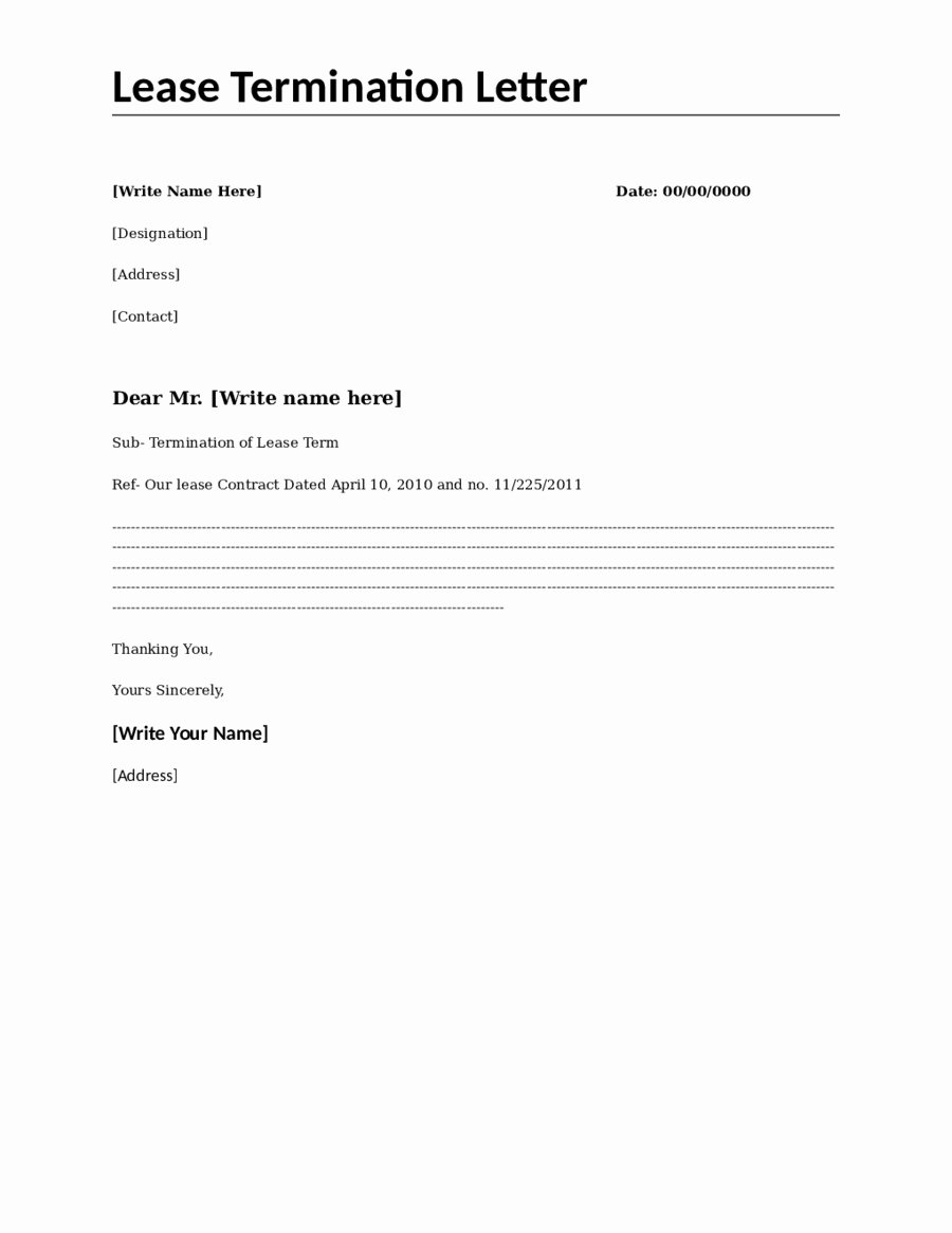 Termination Of Contract Template Unique Lease Termination Letter