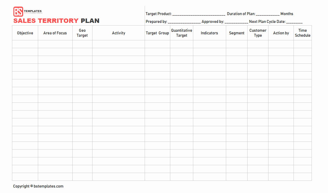 Territory Management Plan Template Lovely Sales Plan Template Sales Strategy Plan Word Excel format