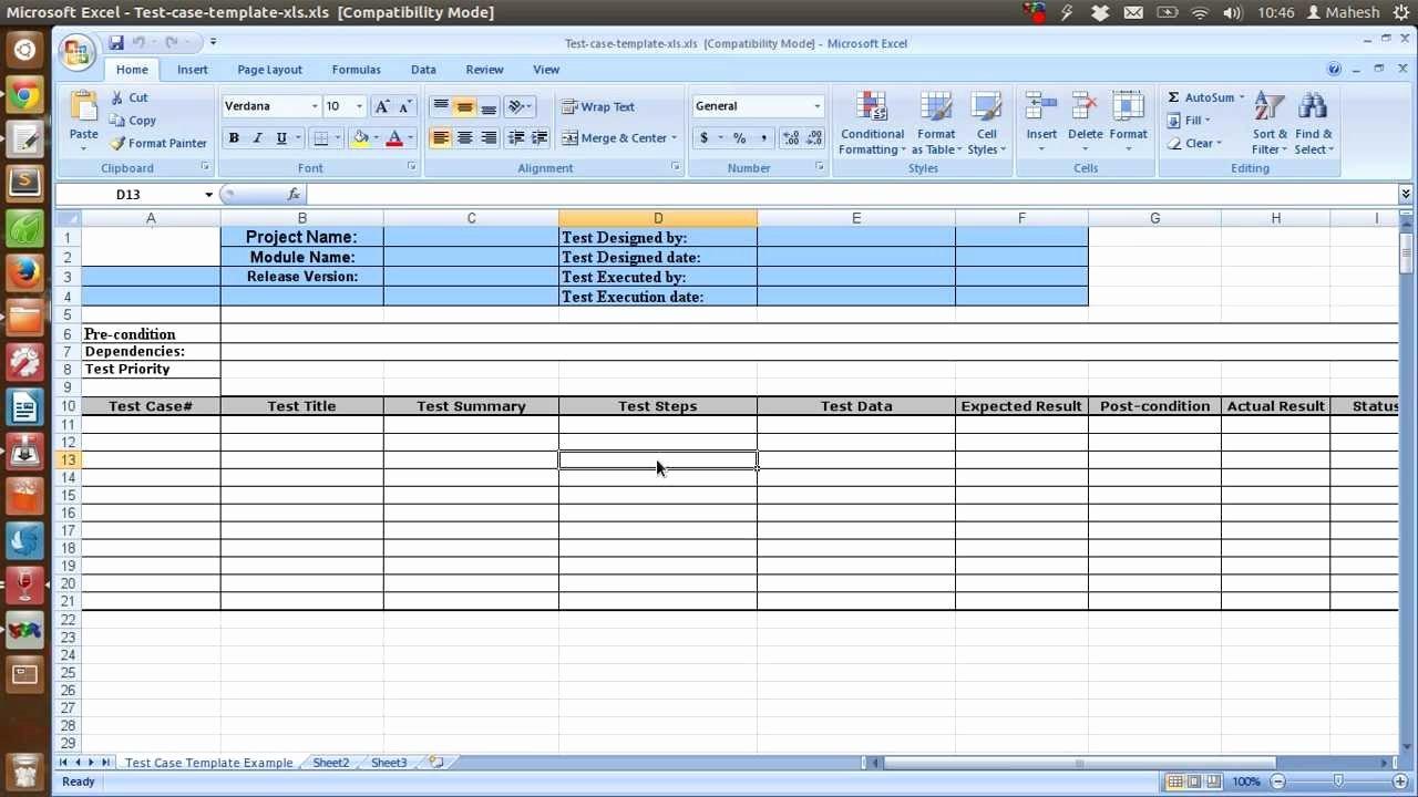 Test Case Template Excel Elegant Sample Test Case Template