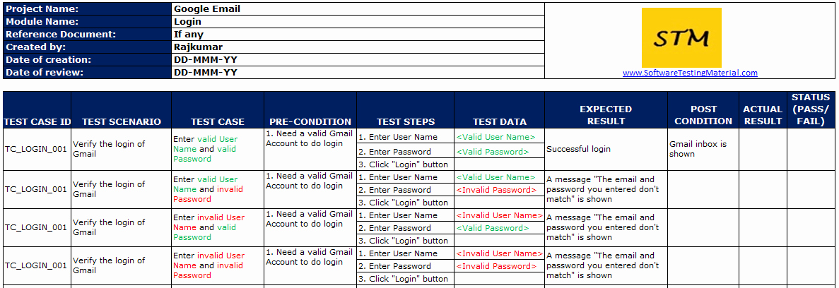 Test Case Template Excel Luxury Test Case Template with Explanation
