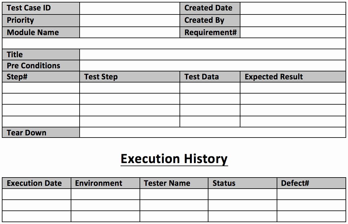 Test Case Template Excel Unique Test Case Template