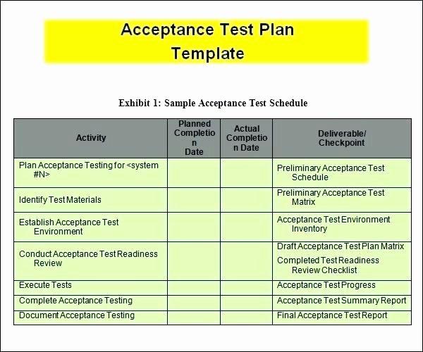 Test Plan Template Excel Inspirational Template Excel En N S Test Plan for User Acceptance