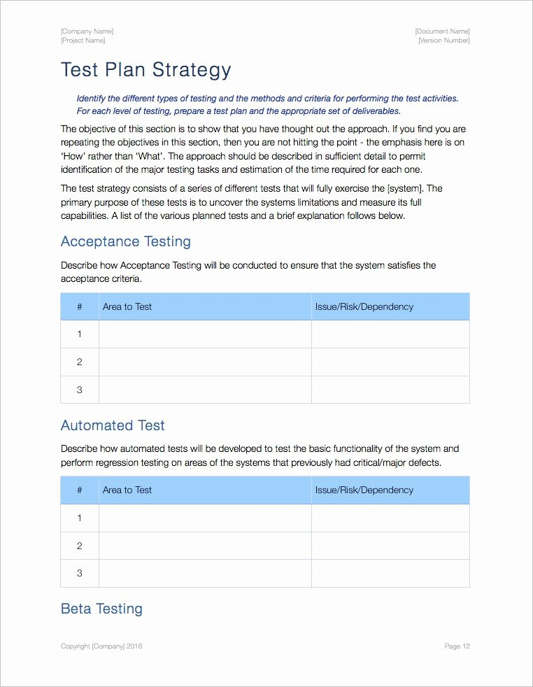 Test Plan Template Word Inspirational Test Plan Template Ms Word Excel