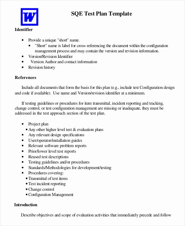 Test Plan Template Word New Test Plan Template 11 Free Word Pdf Documents Download