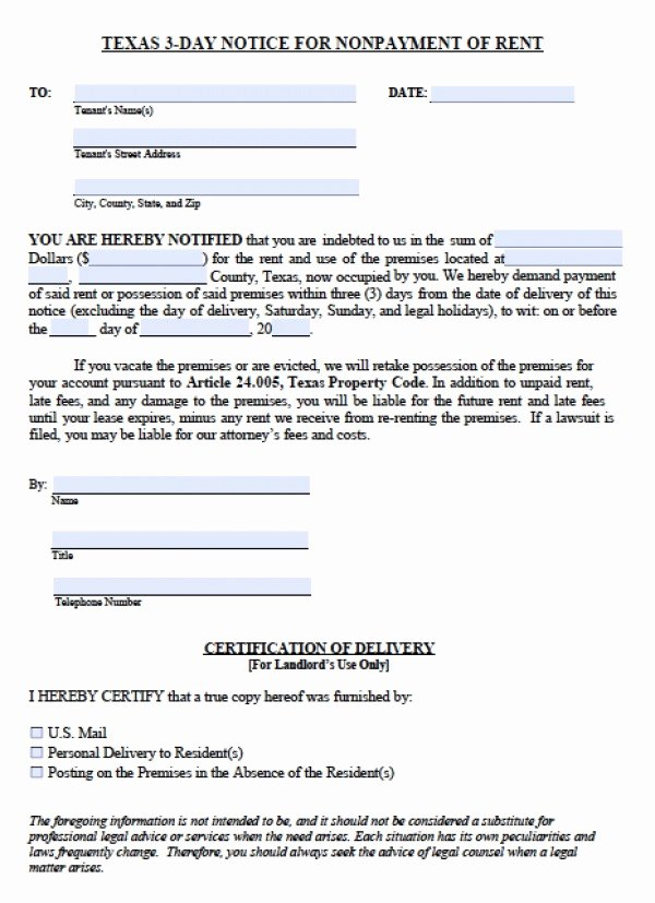 Texas Eviction Notice Template Elegant Eviction Notice Texas