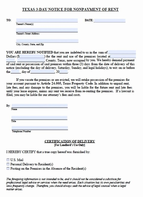 Texas Eviction Notice Template Inspirational Printable Sample 3 Day Eviction Notice form