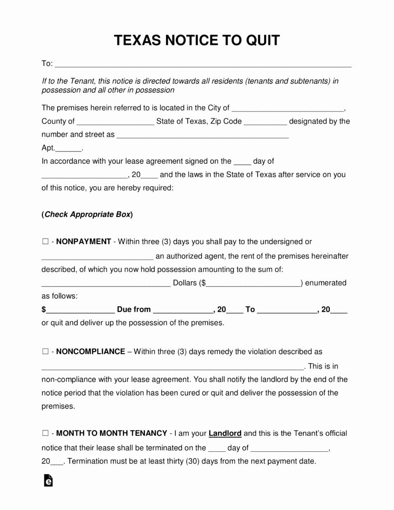 Texas Eviction Notice Template Luxury Free Texas Eviction Notice forms