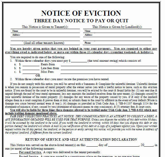 Texas Eviction Notice Template New Printable Sample 3 Day Eviction Notice form
