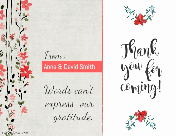 Thank You Postcard Template Best Of Copy Of Peach Floral Thankyou Card Template