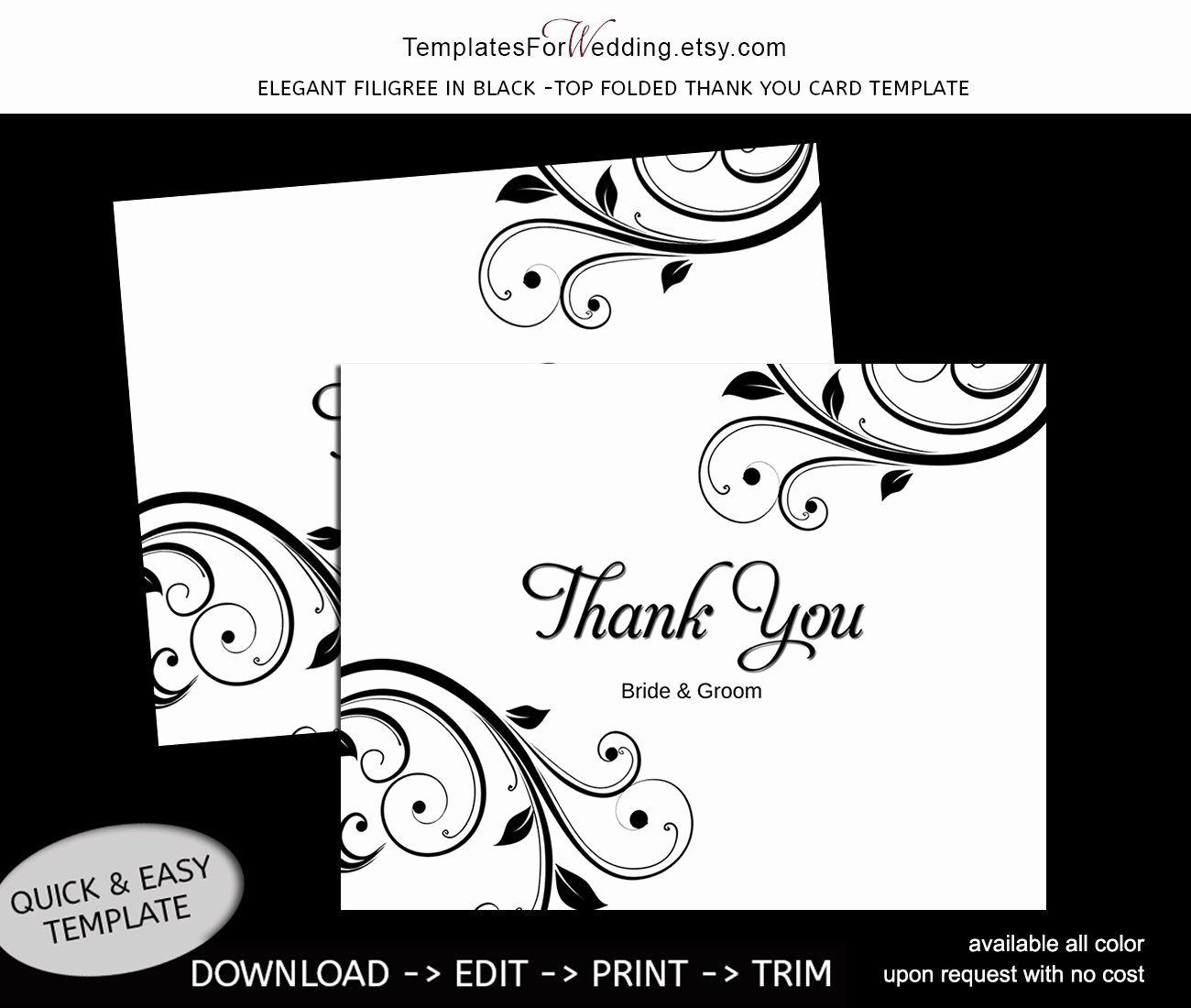 Thank You Postcard Template Inspirational Thank You Card Template Instant Editable Word