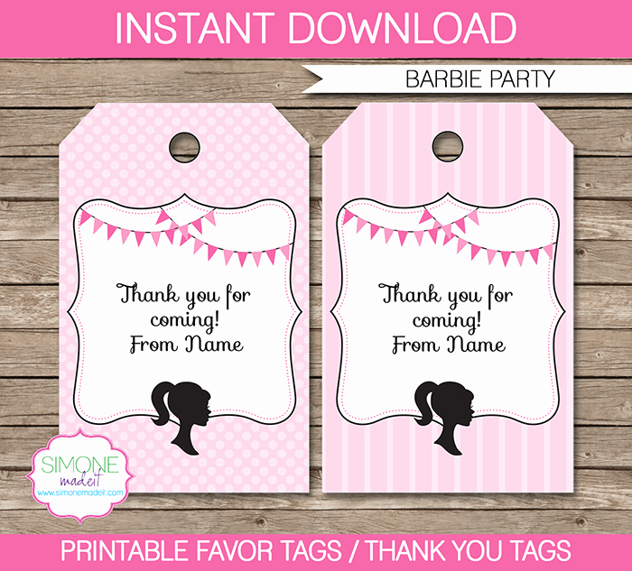 Thank You Tag Template Best Of Barbie Party Favor Tags Template