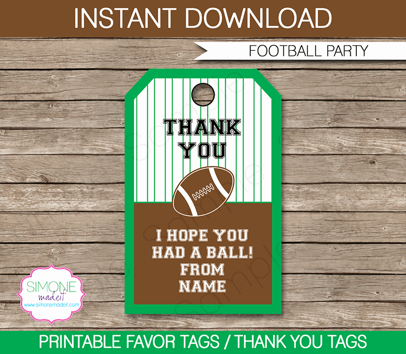 Thank You Tag Template Best Of Football Party Favor Tags Thank You Tags