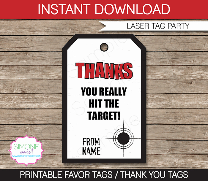 Thank You Tag Template Inspirational Laser Tag Party Favor Tag Templates