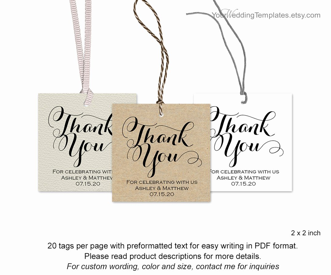 Thank You Tag Template Lovely Modern Thank You Tags Wedding Favor Thank You Tags Diy