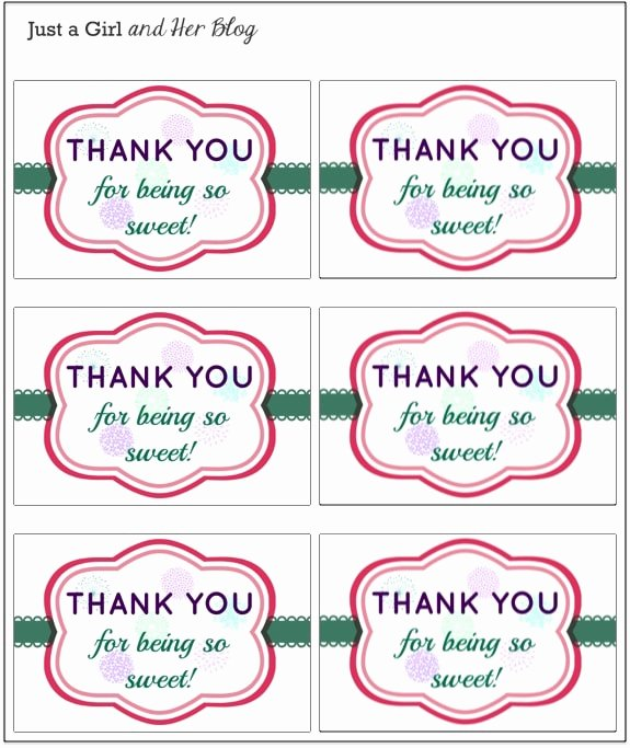 Thank You Tag Template Luxury A Sweet and Simple Thank You Gift with Free Printable