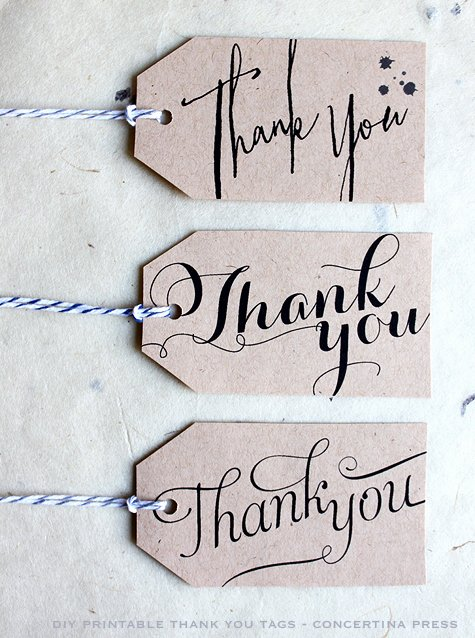 Thank You Tag Template Luxury Concertina Press Stationery and Invitations Diy