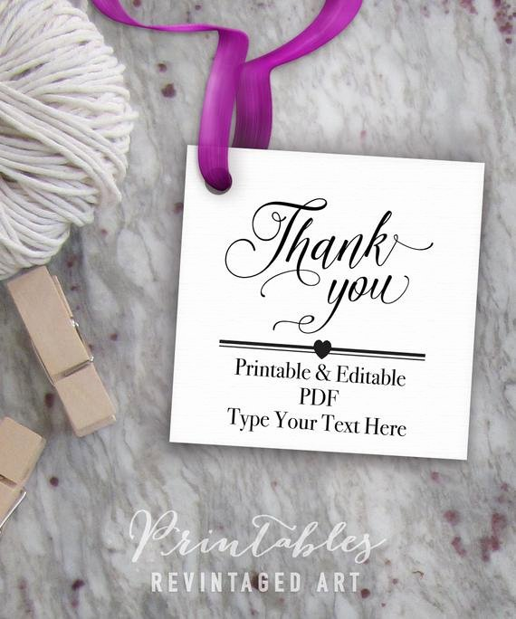 Thank You Tag Template Luxury Printable Thank You Tags Editable Favor Tag Template Thank