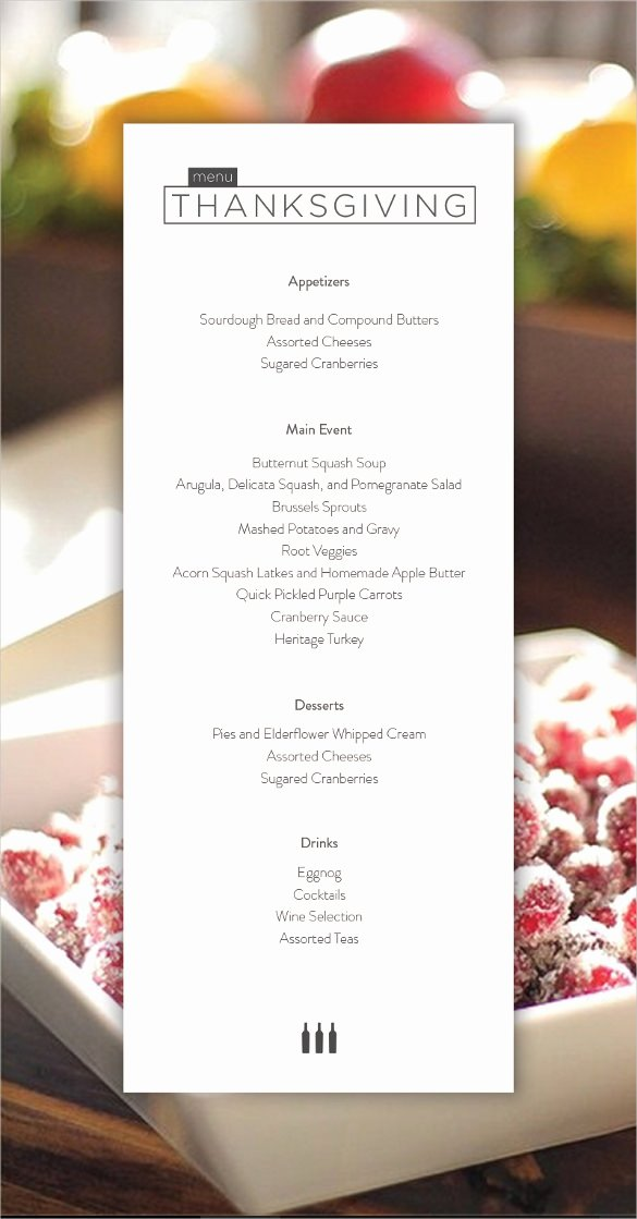 Thanksgiving Dinner Menu Template Awesome 23 Thanksgiving Menu Templates Free Sample Example