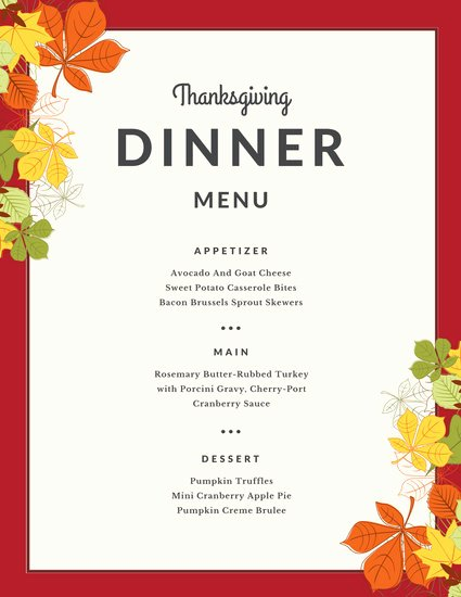 Thanksgiving Dinner Menu Template Awesome Blue Yellow Illustrated Leaves Thanksgiving Menu