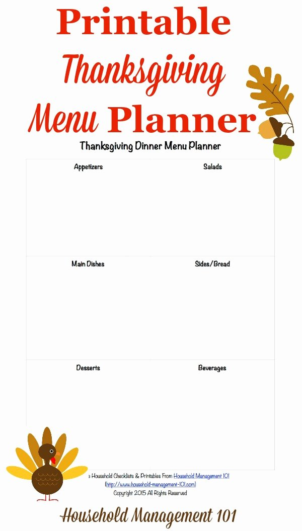 Thanksgiving Dinner Menu Template Awesome Free Printable Thanksgiving Dinner Menu Planner