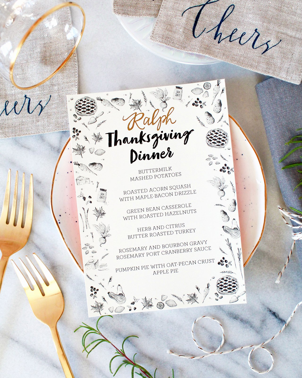 Thanksgiving Dinner Menu Template Fresh Illustrated Printable Thanksgiving Dinner Menu