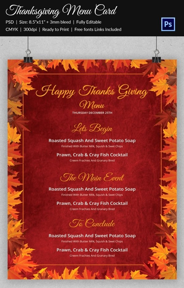 Thanksgiving Dinner Menu Template Fresh Thanksgiving Menu Template 27 Free Psd Eps format