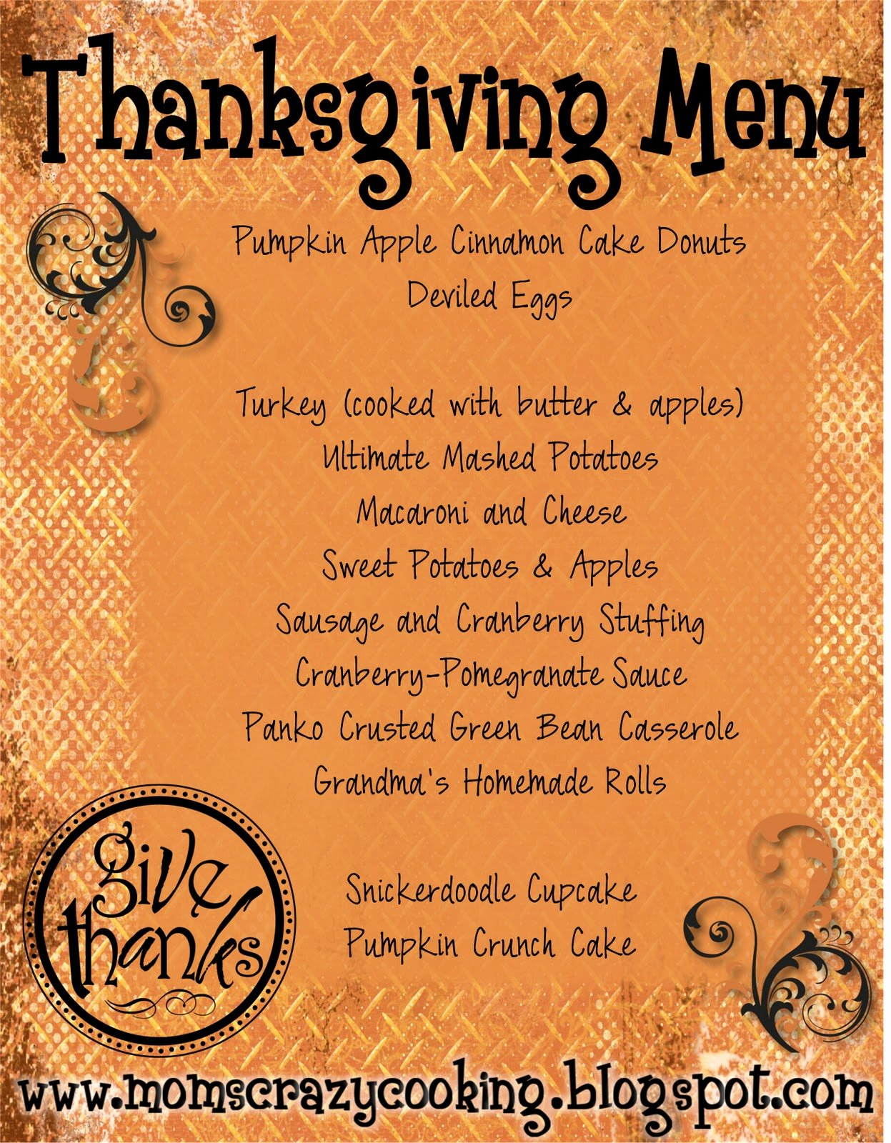 Thanksgiving Dinner Menu Template Inspirational Moms Crazy Cooking Thanksgiving Turkey Treats & My
