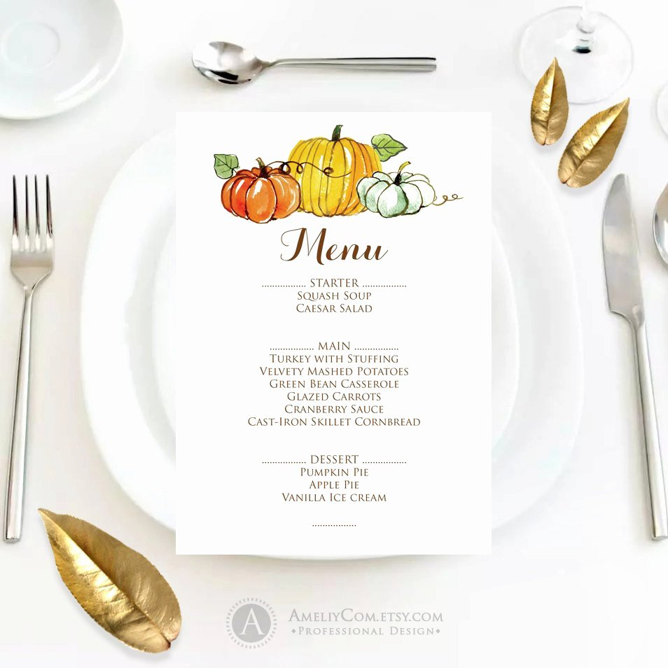 Thanksgiving Dinner Menu Template Lovely Fall Menu Template Printable Autumn Thanksgiving Menu Fall