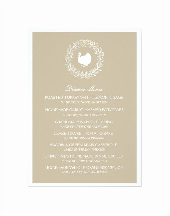 Thanksgiving Dinner Menu Template Lovely Thanksgiving Menu Template 27 Free Psd Eps format