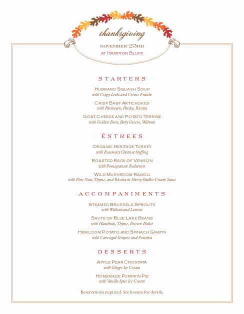 Thanksgiving Dinner Menu Template Luxury Restaurant Thanksgiving Menu
