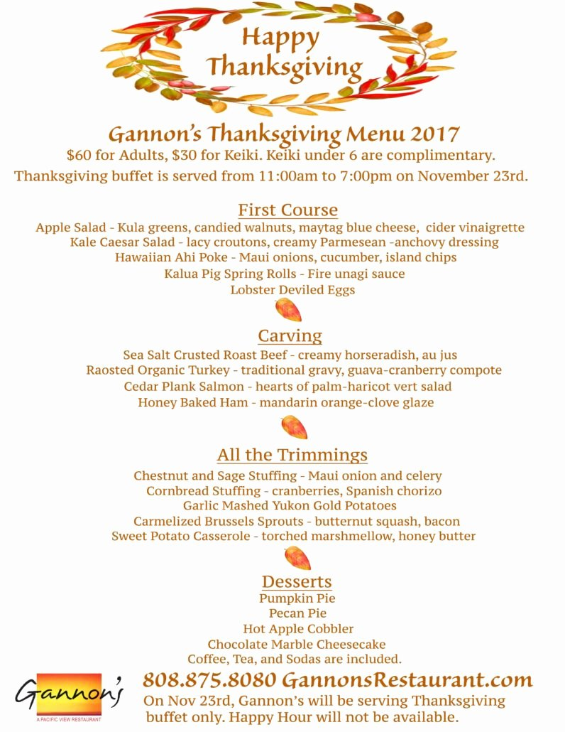 Thanksgiving Dinner Menu Template New Gannon's Restaurant Announces Thanksgiving Day Buffet Menu