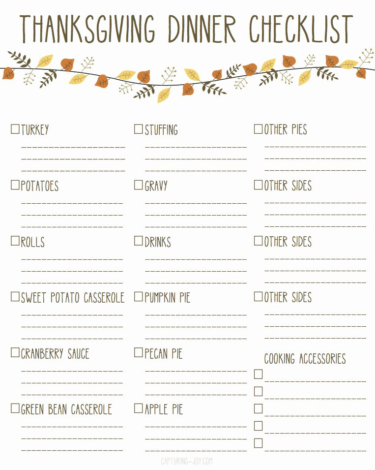 Thanksgiving Dinner Menu Template New Printable Thanksgiving Dinner Checklist and Recipes