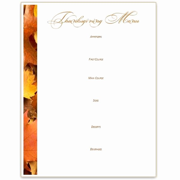 Thanksgiving Dinner Menu Template Unique Printable Thanksgiving Menu Templates – Happy Easter